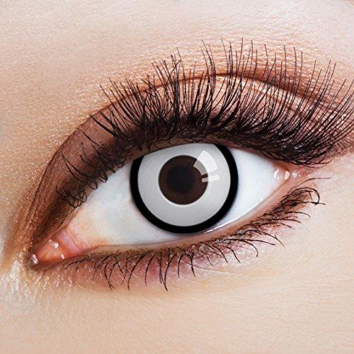 aricona Kontaktlinsen - Weiße Kontaktlinsen Farblinsen mit schwarzem Rand ohne Stärke - Farbige Kontaktlinsen weiß für Halloween, Karneval, Fasching, Cosplay, 2 Stück