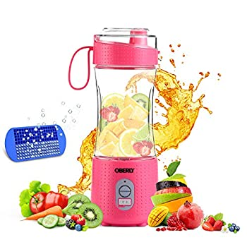 Portable Blender 2 OBERLY Upgraded 4000mAh Powerful Personal Juicer Cup for Shakes and Smoothies - Six Blades in 3D 13oz Fruit Mixing Machine with Rechargeable Batteries Ice Tray Detachable Cup