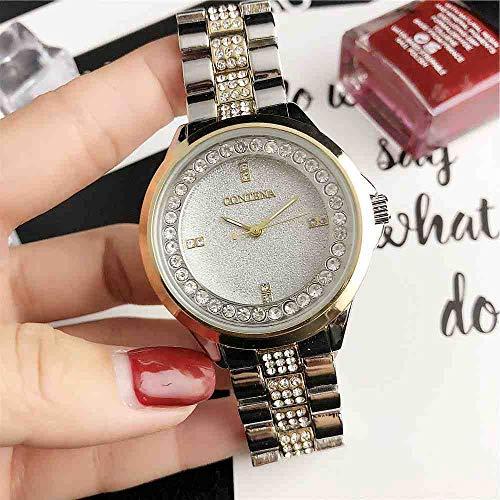 OLUYNG Reloj de Pulsera Reloj de Cuarzo para Mujer New Trend Fashion Silver Gold