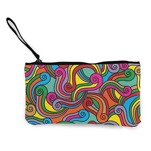 Moneda de lona, estilo bohemio, tribal con cremallera, bolsa de cosméticos de viaje, multifunción, bolsa de maquillaje, bolsa para teléfono móvil, paquete de lápices con asa