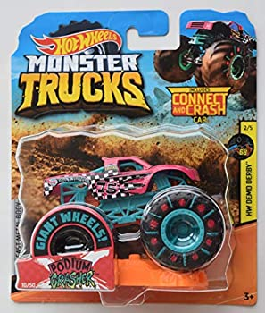 Hot Wheels Monster Truck 1 64 Scale Pink Podium Crasher 10/50 Connect and Crash Car