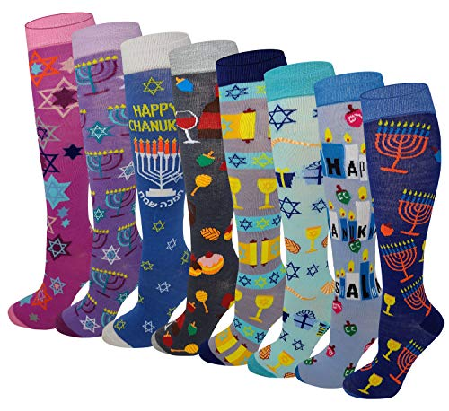 6 Pairs Women's Fancy Design Multi Colorful Patterned Knee High Socks (Hanukkah ( 8 Pairs ))