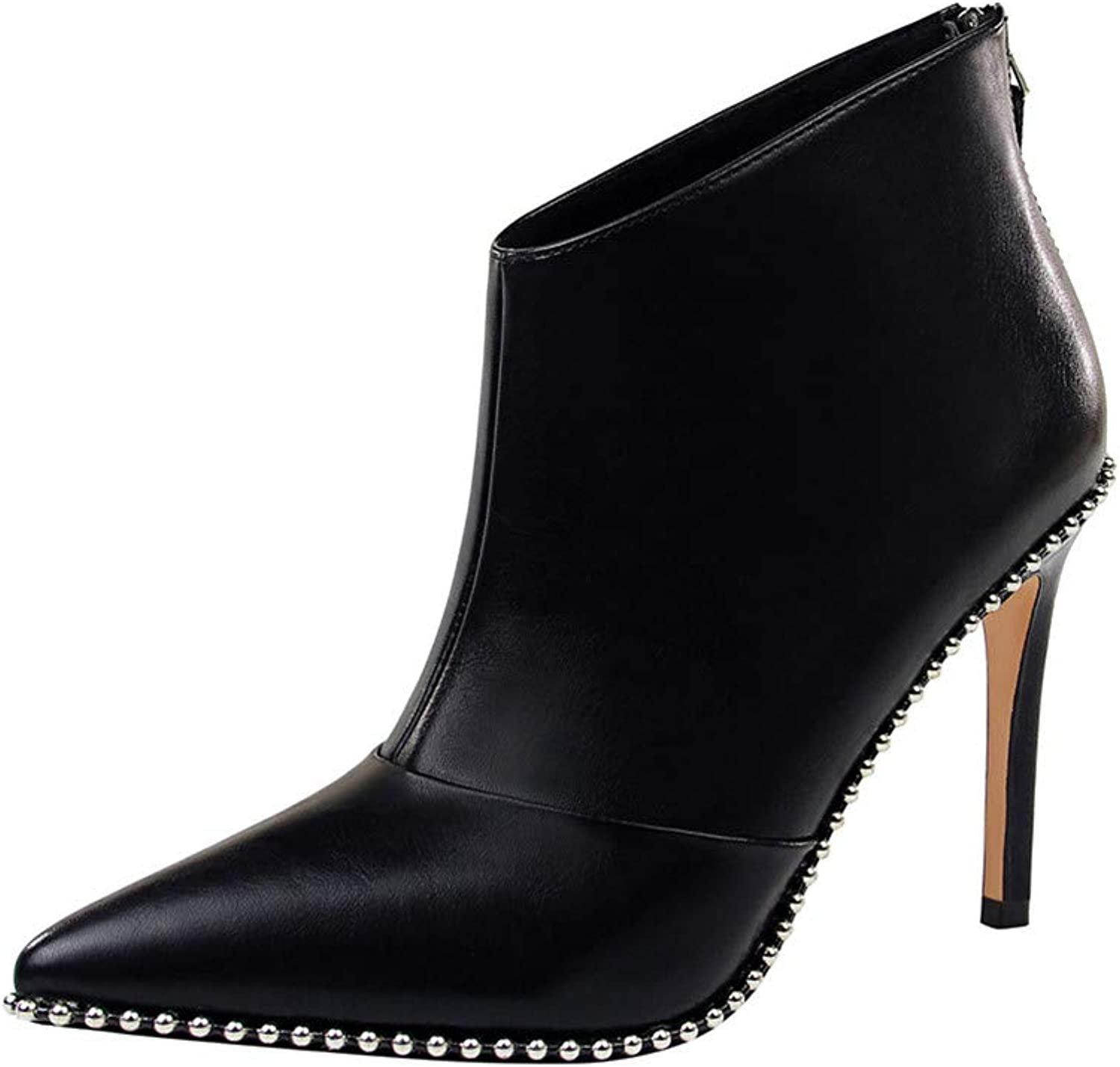 MMJULY Women's Pointed Toe Zip Up Stiletto High Heels Dress Ankle Booties
