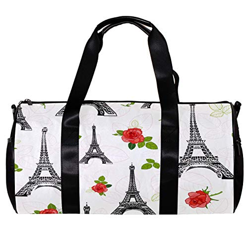 Round Gym Sports Duffel Bag With Detachable Shoulder Strap Black Red Eifel Tower Paris And Roses Flowers Training Handbag Overnight Bag for Women And Men