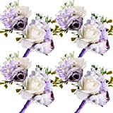 AMAZING1 - Juego de ramillete y ramillete para mujer y hombre, diseño de rosas para boda, accesorios para novio padrino, novio, novio, novia, baile de graduación, color morado