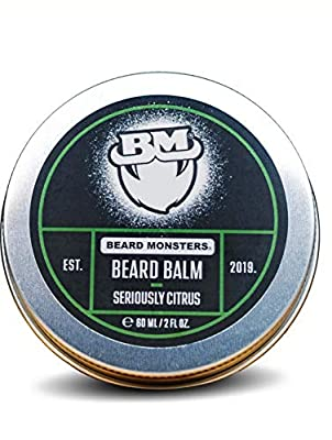 Beard Monsters Beard Balm for Men 60ml Seriously Citrus Nourishes Moisturizes & Conditions Relieves Beard Itch and Dandruff Non Greasy Shine, Cruelty Free Natural and Organic Ingredients from Beard Monsters