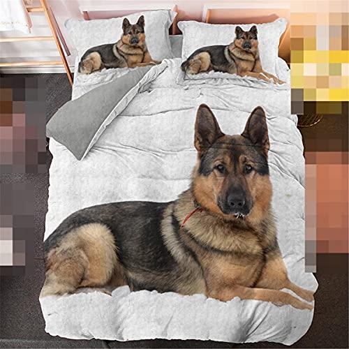 Juego de ropa de cama 3D, funda de edredón y funda de almohada para perro, cama individual y matrimonial