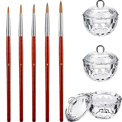 8 Pieces Art Manicure Care Tools Includes 3 Nail Art Clear Glass Bowl Dappen Dishes Cup with Lid and 5 Acrylic Design Round Mahogany Wood Handle 3D Painting Drawing UV Gel DIY Brush/Pen Set