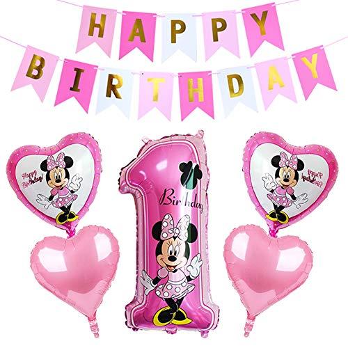 CYSJ Palloncini Party Mickey,Topolino e Minnie Forniture per Feste Minnie Festa Compleanno Kit includono Banner, Palloncini striscioni Cupcake per Feste Tema di Compleanno Baby Shower Decorazioni