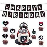 TikTok 誕生日 飾り付け パーティー セット ティックトック 可愛い 面白い 子供 女の子 男の子 ブラック 音楽 音符 おしゃれ happy birthday ガーランド バナー ケーキトッパー リボン 27枚セット