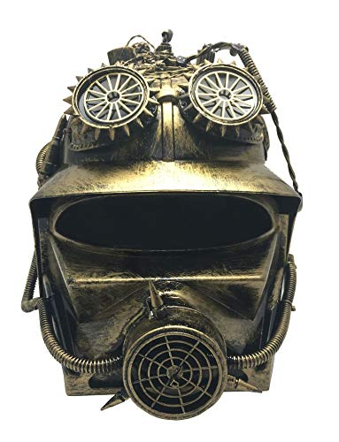 shoperama Casco Steampunk con visera de color dorado envejecido, con engranajes, tubos, tubos, bomberos