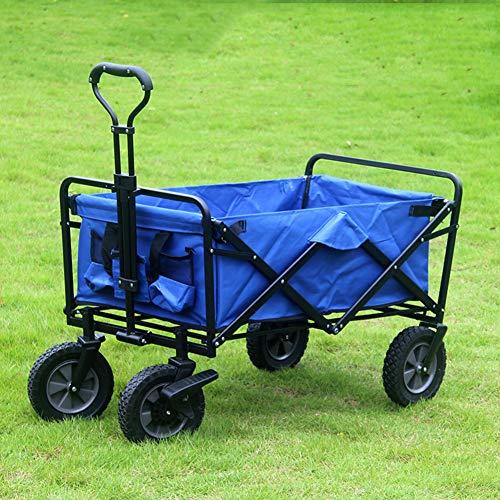 XYYZX Bollerwagen faltbar mit Reifen für Vatertag, einkaufen, klappbar, Transportwagen ohne Dach mit Abdeckhaube, verstärkter Achse und Gestell - Tragkraft: 80KG,Blau