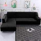 Dightyoho Funda de Sofa Elástica Chaise Longue Brazo Largo Derecho Cubre Sofá Modelo Acolchado Diseñada de Forma L Protector para Sofá de Terciopelo Grueso Color Sólido (Negro, 2 + 3)