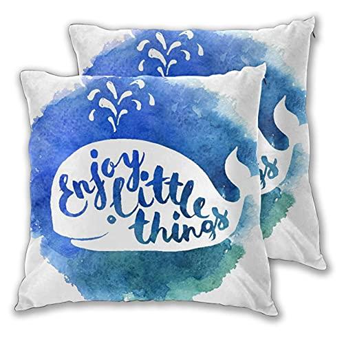 VINISATH Set de 2 Funda de Cojín 55x55cm Letras motivacionales de Ballena Blanca y Azul con Tema del océano Disfrute de pequeñas Cosas Fundas de Almohada para Sofá Cama Coche Hogar