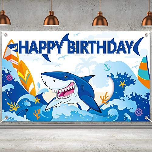 Shark Party Decorations Shark Birthday Banner Backdrop Large Shark Zone Happy Birthday Yard Sign Backgroud Shark Themed Birthday Backdrop Party Indoor Outdoor Car Decorations Supplies
