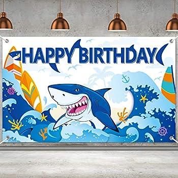 Shark Party Decorations Shark Birthday Banner Backdrop Large Shark Zone Happy Birthday Yard Sign Backgroud Shark Themed Birthday Backdrop Party Indoor Outdoor Car Decorations Supplies