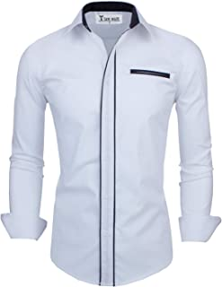 Abetteric Men Slim Fitted Business Long Sleeve Classic Regular Fit Woven Shirt