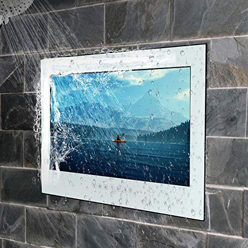 Haocrown - Televisión de baño (22 pulgadas, impermeable, Full HD, LED, Smart TV, Android 10.0, Wi-Fi, Bluetooth, HDMI, USB 3.0, USB 2.0, marco blanco, modelo 2020)