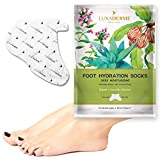LuxaDerme Deep Moisturising Treatment- Foot Hydration Socks. Infused with Serum containing Safflower Seed