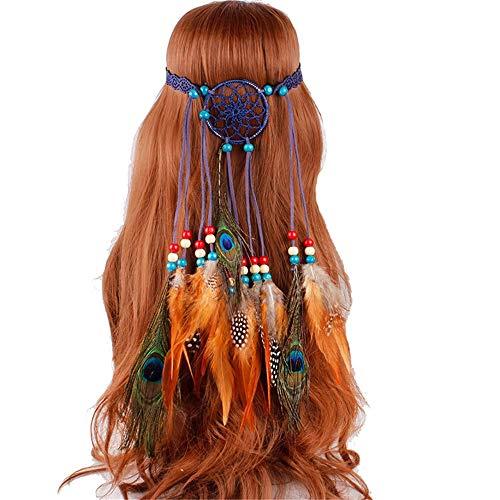 AFCITY Indian Headdress Chapeau de Hippie Indien Festival de Chapeaux de Perles tressées pour Filles pour déguisement Mascarade (Couleur : Bleu)