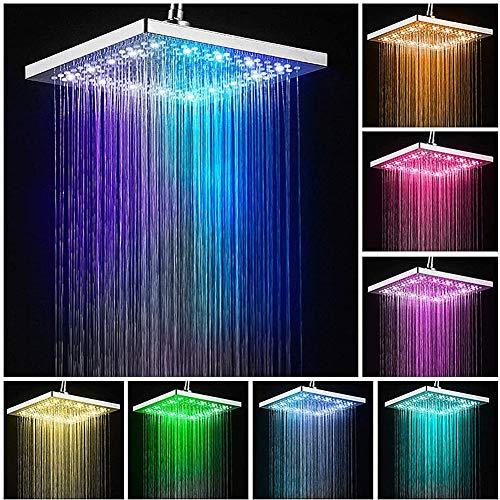 WRQ LED Duschkopf RGB Regendusche Deckenbrause Quadrat Überkopfbrause Farbwechsel Kopfbrause Für Badezimmer 20 * 20CM 7 Farben