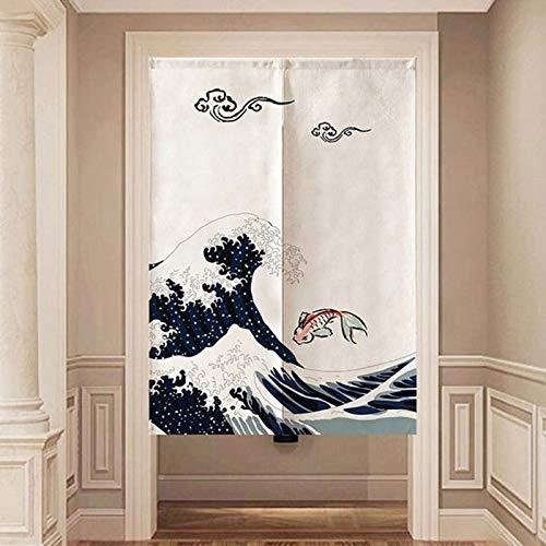 Oumefar Cortina de puerta de poliéster fácil de limpiar, estilo japonés, 85 x 120 cm, para cocina, dormitorio, decoración del hogar