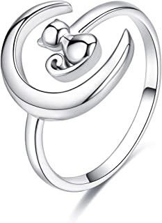 Cute Cat and Crescent Moon Statement Rings Sterling Silver Adjustable Open Expandable Lucky Engagement Band Ring for Women Girls
