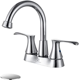 HOMELODY Centerset Bathroom Faucet Chrome, 360 Degree High Arc Swivel Spout Bathroom Sink Faucet 2-handle with Pop Up Drain,1 Hole or 3 Hole Deck Mounted