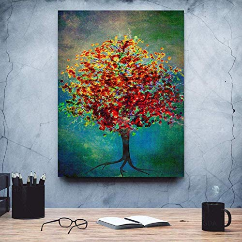 XMYC Canvas Wall Art Tree Oil Painting Abstract Landscape Canvas Print Pictures Poster Living Room Decor19.7x27.6in(50x70cm) no frame