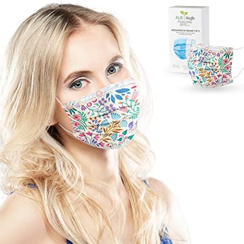 ALB Stoffe® ProtectMe - OP Masken FLORETS, 100% Made in Germany, zertifizierte medizinische Mund-Nasen-Masken bedruckt, 20er Pack