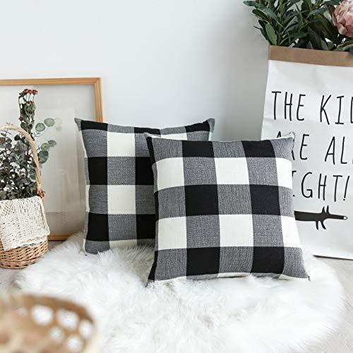 UGASA Decorative Square Throw Pillow Covers Farmhouse Big Checkered Cushion Case for Sofa/Bedroom/Car, Set of 2, 18x18 Inch, Black White