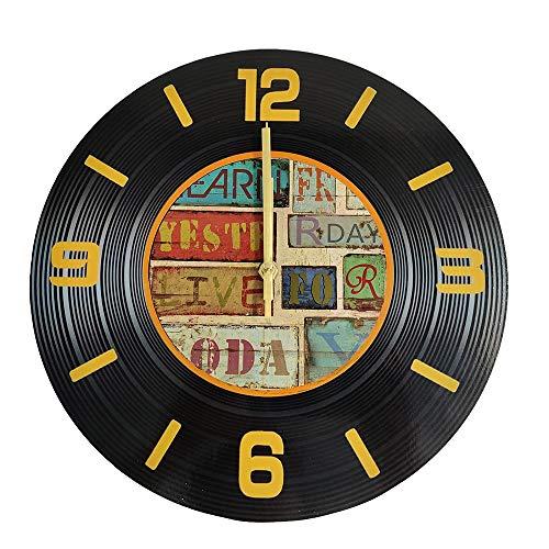 LOHAS Home - Orologio da parete rotondo da 30,5 cm, silenzioso, senza ticchettio, in vinile, stile CD, stile vintage