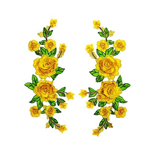 TREESTAR Schmuck mit Spitze zum Aufbügeln und Aufklebern aus Ethno-Stoff, Blumenmotiv, wasserlöslich Gelb