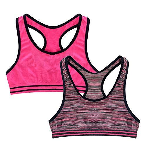 The Popular Store Sport-BH für Mädchen, nahtlos, Racerback, 2 Stück - Pink - Medium