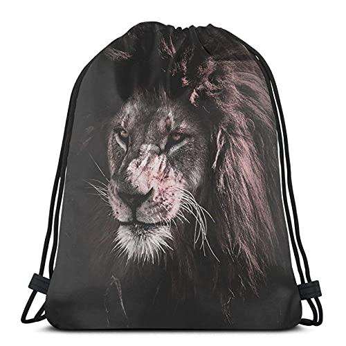 Lmtt Mochila con cordón, deportes, gimnasio, mochila, bolsa de viaje, león con corazón roto