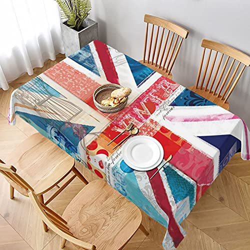 Tablecloth Anti-Fading Washable Rectangle Table Cloth Polyester Decorative Table Cover for Dining Table Parties Camping UK Union Jack Vintage Newspaper Art Indoor/Outdoor Tabletop Decoration