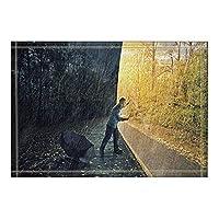 Assanu 雨の中で秋の森の装飾の人と傘風呂の敷物滑り止め玄関の床の玄関屋外の屋内玄関マット子供のバスマット15.7x23.6inバスルームアクセサリー