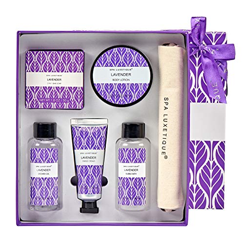 Spa Luxetique Spa Gift Box for Women, Lavender Spa Gift Basket, 6 Pcs Bath and Body Gift Set Includes Body Lotion, Shower Gel, Bubble Bath, Hand Cream, Travel Bag. Best Gift Set for Women.