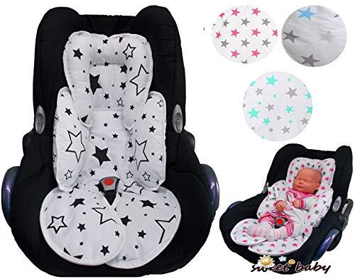 Sweet Baby ** SLEEPY Auto-Sitzverkleinerer/NeugeborenenEinsatz Antiallergikum ** Passend für Babyschalen Gr. 0/0+ und Gr.1 wie Maxi Cosi, Cybex, Kinderwagen, Babywanne etc. (Türkis White Stars)