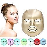 7 Color Fotón LED Mascarilla Eléctrica Therapy LED Máscara de la Rejuvenecimiento Belleza Facial Antienvejecimiento Piel Sana, Anti Envejecimiento, Arrugas,Colágeno, Cicatrización (color dorado)