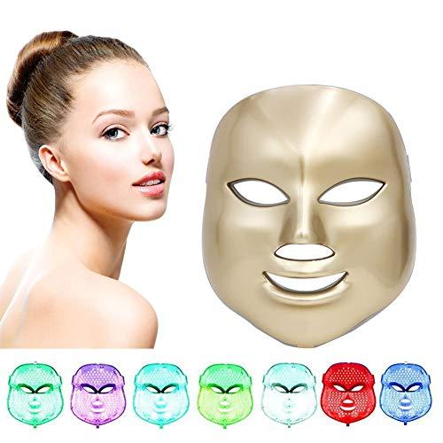 7 Colore LED Maschere Terapia Della Luce Maschere per il Facciale Bellezza Anti Invecchiamento Rughe, Collagene Sbiancamento Rassodamento Della Ringiovanimento d'oro