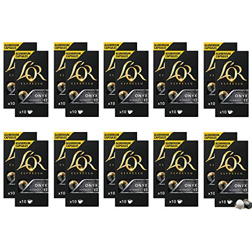 L'OR Espresso Coffee Onyx Intensity 12 - Cápsulas de café de aluminio compatibles con Nespresso® * - 20 paquetes de 10…