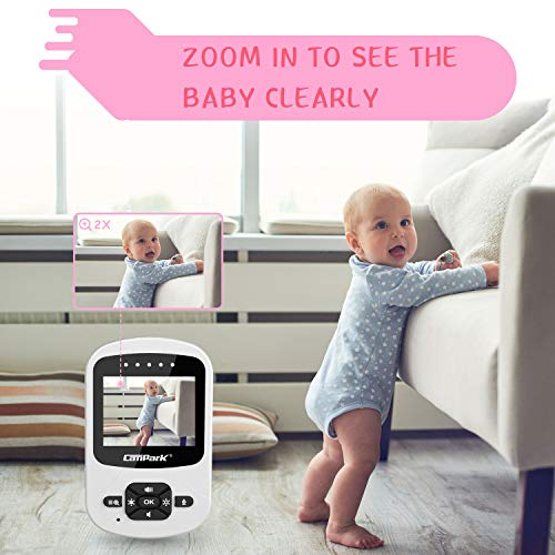"Campark Baby Monitor with Camera Wireless Video Digital Cam with Infrared Night Vision 2-Way Talk 2.4"" LCD 2.4GHz Temperature Sensor VOX Support Multi-Camera Connect and Lullabies (1 Camera)"