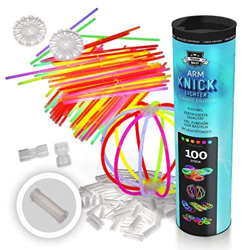100 Knicklichter 20 cm x 0,5 cm im 6-FarbenMix, Glowsticks, Leuchtstäbe