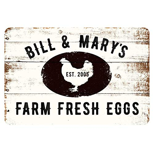 MAIYUAN Rustic Farm Fresh Eggs Sign Vintage Personalized Farmhouse Signs Decor Chicken Coop Decorations Egg for Sale Hen House Rustic Accessories Tin Wall Art Home Decor