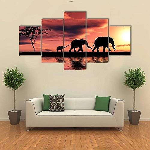 5 Pieces Canvas Painting Elephant Family Silhouette Poster Wall Art Suitable for Living Room, Bedroom, Study, Children's Room,Creative Gift,Ready to Hang
