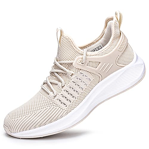 SDolphin Running Walking Shoes Women - Gym Tennis Sneakers Lightweight Breathable Mesh Comfortable Memory Foam Working Non Slip Cream Shoes Beige Size 8.5