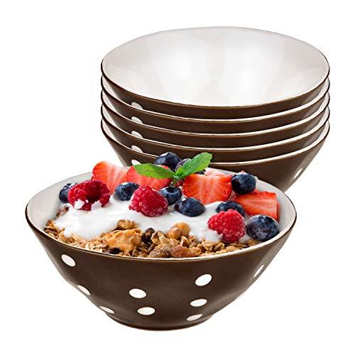 Mercant set van 6 mueslischaal bruin wit gestippeld | 14 cm | serveerschotel | schaaltjes voor soep, salade, snacks en dessert | nobel aardewerk