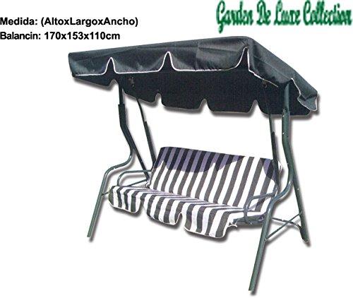 Garden Deluxe - Balancin Metalico para Jardin 3 Plazas