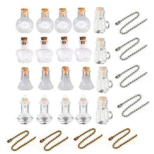 Xumier 28pcs Mini Botella de Deriva minibotellas de Vidrio Diferentes Tarro de Corcho Transparente Multifuncional para Regalos de cumpleaños Regalos navideños Manualidades de Bricolaje